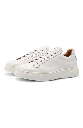 Мужские кожаные кеды CAMERLENGO белого цвета, арт. Z15740GALBI703 | Фото 1