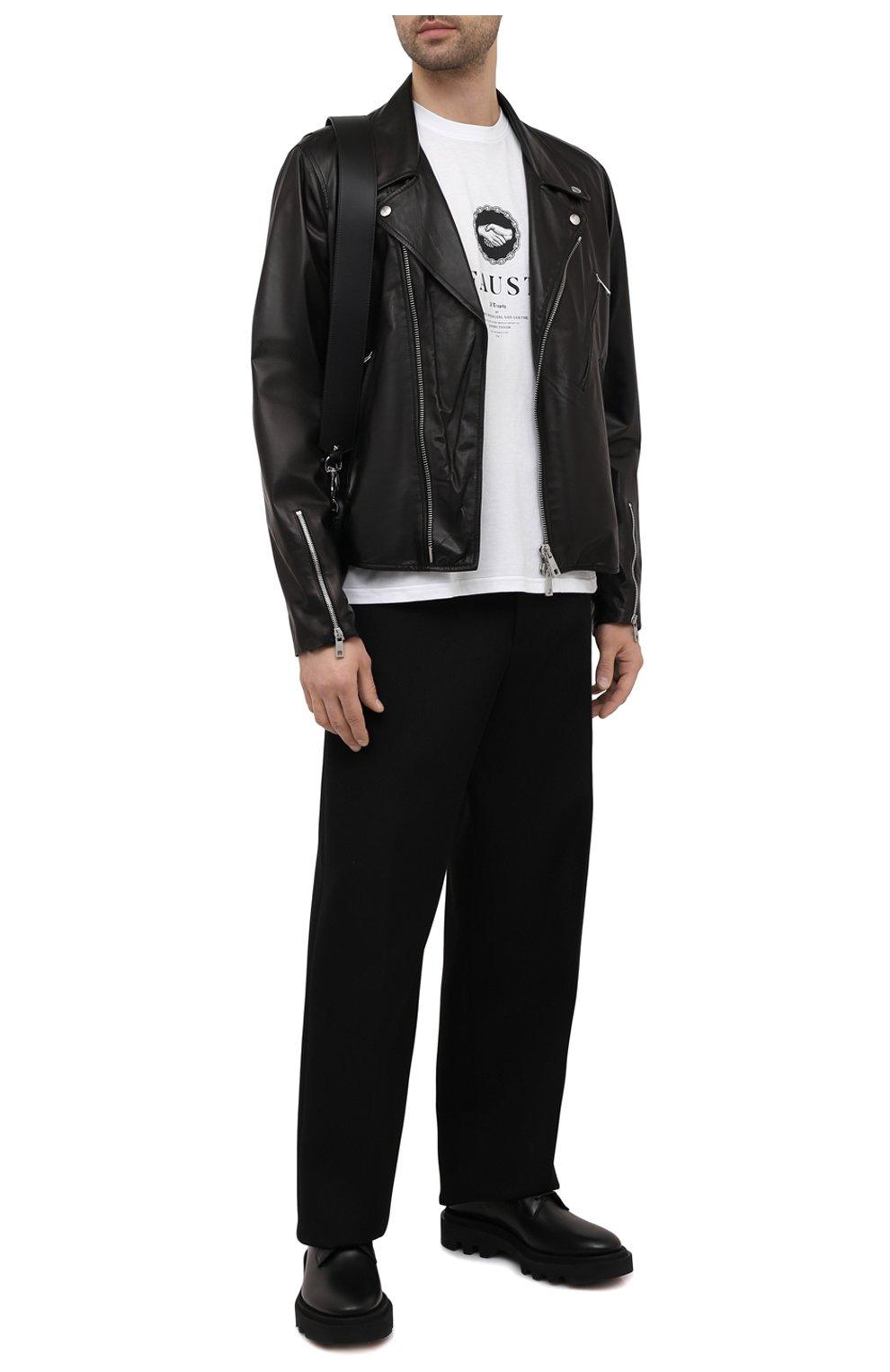 Мужская хлопковая футболка TEE LIBRARY белого цвета, арт. TSK-TS-12 | Фото 2 (Рукава: Короткие; Длина (для топов): Стандартные; Стили: Гранж; Принт: С принтом; Материал внешний: Хлопок)