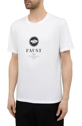 Мужская хлопковая футболка TEE LIBRARY белого цвета, арт. TSK-TS-12 | Фото 3 (Рукава: Короткие; Длина (для топов): Стандартные; Стили: Гранж; Принт: С принтом; Материал внешний: Хлопок)