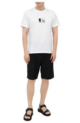 Мужская хлопковая футболка TEE LIBRARY белого цвета, арт. TSK-TS-05 | Фото 2 (Принт: С принтом; Рукава: Короткие; Материал внешний: Хлопок; Длина (для топов): Стандартные; Стили: Гранж)