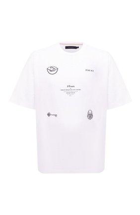 Мужская хлопковая футболка TEE LIBRARY белого цвета, арт. TSK-T0-29 | Фото 1 (Материал внешний: Хлопок; Длина (для топов): Стандартные; Принт: С принтом; Рукава: Короткие; Стили: Гранж)