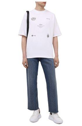 Мужская хлопковая футболка TEE LIBRARY белого цвета, арт. TSK-T0-29 | Фото 2 (Материал внешний: Хлопок; Длина (для топов): Стандартные; Принт: С принтом; Рукава: Короткие; Стили: Гранж)