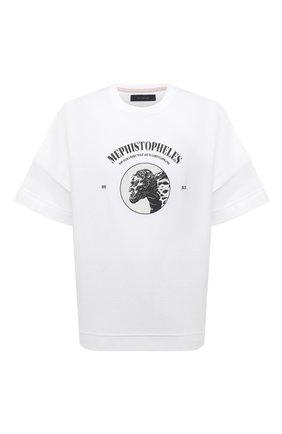 Мужская хлопковая футболка TEE LIBRARY белого цвета, арт. TSK-LS-31 | Фото 1 (Материал внешний: Хлопок; Стили: Гранж; Принт: С принтом; Длина (для топов): Стандартные; Рукава: Короткие)