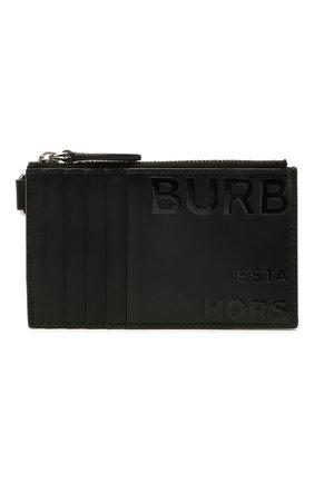 Мужской кожаный футляр для кредитных карт BURBERRY черного цвета, арт. 8039012 | Фото 1
