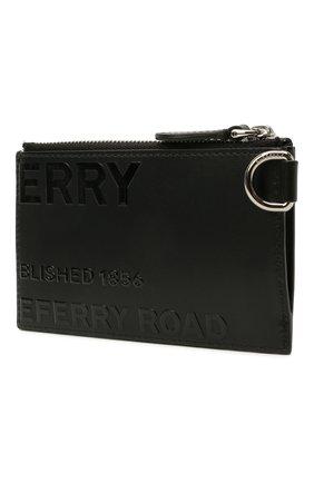 Мужской кожаный футляр для кредитных карт BURBERRY черного цвета, арт. 8039012 | Фото 2