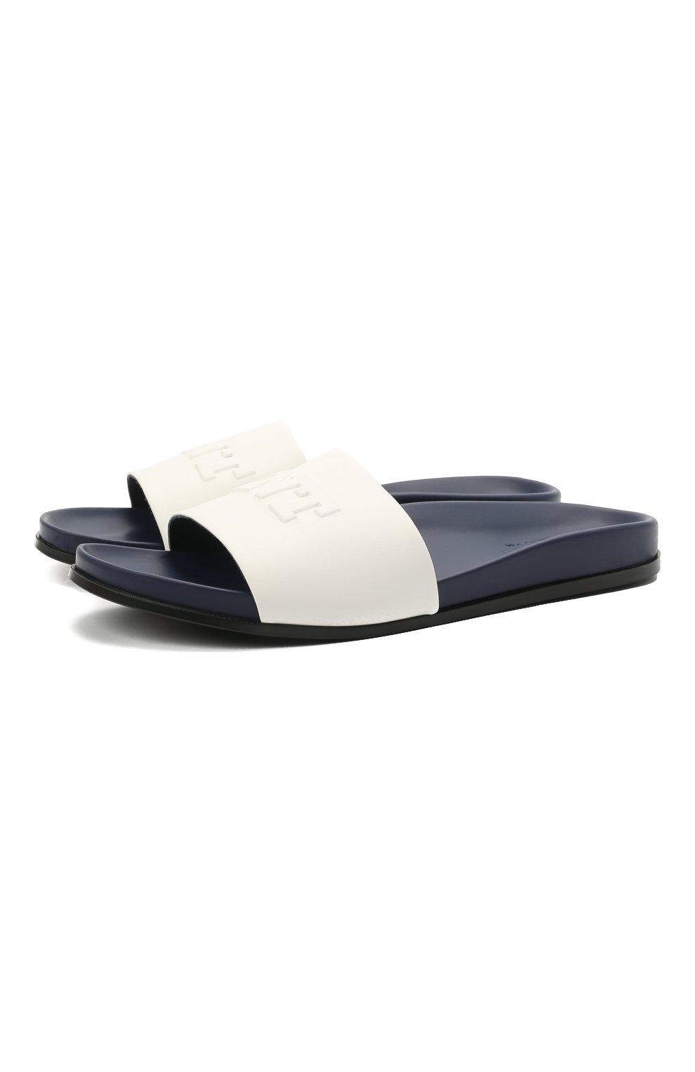 Мужские кожаные шлепанцы KNT белого цвета, арт. USSK034N00444 | Фото 1 (Материал внешний: Кожа; Материал внутренний: Натуральная кожа)