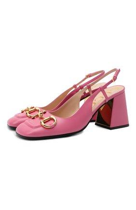Женские кожаные туфли baby GUCCI розового цвета, арт. 643892/C9D00 | Фото 1 (Подошва: Плоская; Каблук высота: Высокий; Каблук тип: Устойчивый; Материал внутренний: Натуральная кожа)