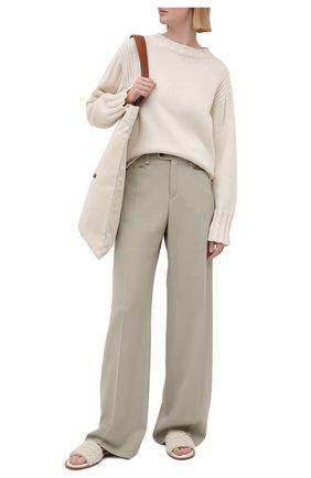 Женские шерстяные брюки CHLOÉ светло-зеленого цвета, арт. CHC21UPA17166   Фото 2 (Материал подклада: Вискоза; Силуэт Ж (брюки и джинсы): Широкие; Материал внешний: Шерсть; Стили: Кэжуэл; Длина (брюки, джинсы): Удлиненные; Женское Кросс-КТ: Брюки-одежда)