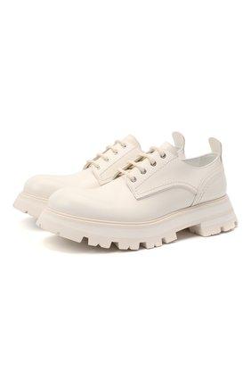 Женская кожаные ботинки ALEXANDER MCQUEEN белого цвета, арт. 657568/WHZ80 | Фото 1 (Материал внешний: Кожа; Материал внутренний: Натуральная кожа; Подошва: Платформа; Каблук высота: Низкий)