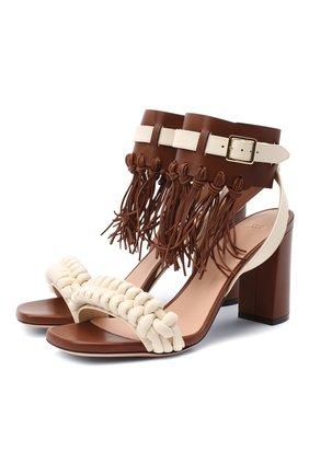 Женские кожаные босоножки suzy 85 BALLY коричневого цвета, арт. SUZY 85/08 | Фото 1