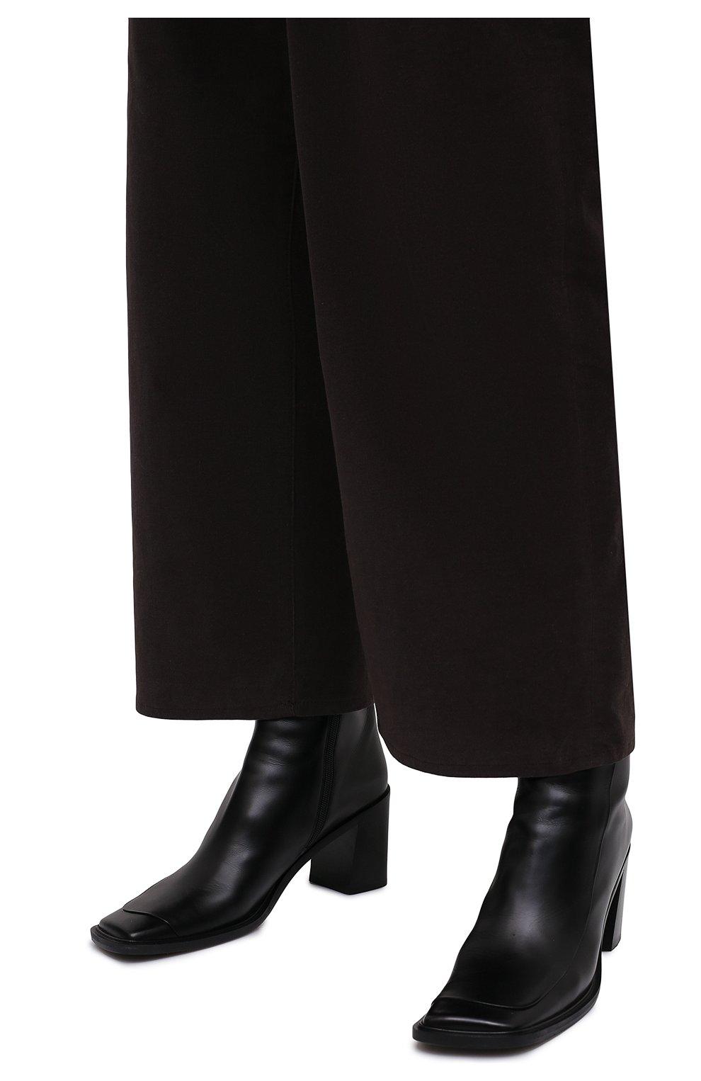 Женские кожаные ботильоны patch THE ROW черного цвета, арт. F1199-L52 | Фото 3