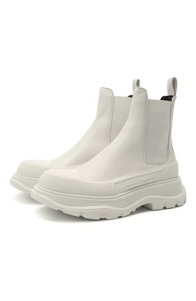 Женские кожаные ботинки tread slick ALEXANDER MCQUEEN белого цвета, арт. 635714/WHZ61 | Фото 1 (Женское Кросс-КТ: Челси-ботинки; Материал внутренний: Натуральная кожа; Подошва: Платформа; Каблук высота: Низкий)