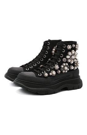 Женские текстильные ботинки tread slick ALEXANDER MCQUEEN черного цвета, арт. 652246/W4L3I   Фото 1
