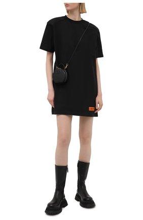 Женское хлопковое платье HERON PRESTON черного цвета, арт. HWDB044R21JER0011001 | Фото 2