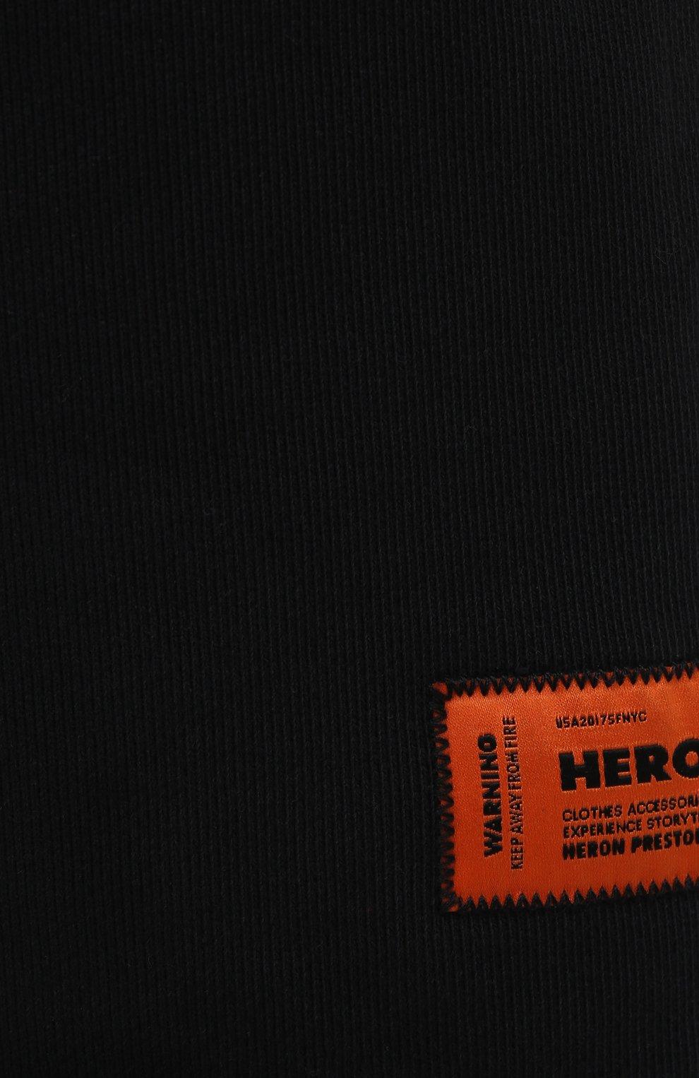 Женские хлопковые шорты HERON PRESTON черного цвета, арт. HWCI002R21JER0011001   Фото 5 (Женское Кросс-КТ: Шорты-одежда; Длина Ж (юбки, платья, шорты): Мини; Материал внешний: Хлопок; Стили: Спорт-шик)