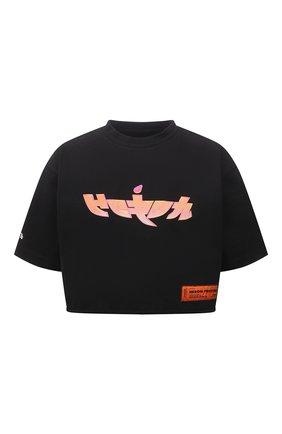 Женская хлопковая футболка HERON PRESTON черного цвета, арт. HWAA028R21JER0011020 | Фото 1