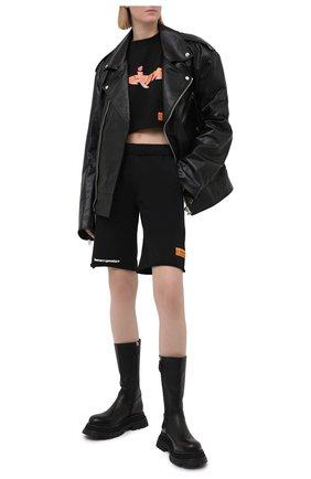 Женская хлопковая футболка HERON PRESTON черного цвета, арт. HWAA028R21JER0011020 | Фото 2