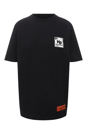 Женская хлопковая футболка HERON PRESTON черного цвета, арт. HWAA023R21JER0021001 | Фото 1