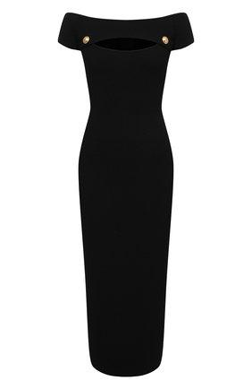 Женское платье из вискозы BALMAIN черного цвета, арт. VF0RK000/K211 | Фото 1 (Случай: Коктейльный; Рукава: Короткие; Женское Кросс-КТ: платье-футляр, Платье-одежда; Стили: Гламурный; Материал внешний: Вискоза; Длина Ж (юбки, платья, шорты): Миди)