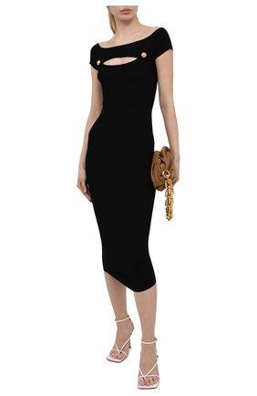 Женское платье из вискозы BALMAIN черного цвета, арт. VF0RK000/K211 | Фото 2 (Случай: Коктейльный; Рукава: Короткие; Женское Кросс-КТ: платье-футляр, Платье-одежда; Стили: Гламурный; Материал внешний: Вискоза; Длина Ж (юбки, платья, шорты): Миди)