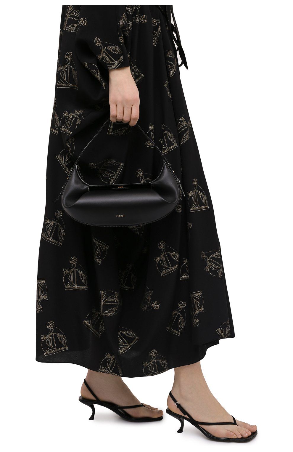 Женская сумка fortune cookie YUZEFI черного цвета, арт. YUZC0-HB-FC-00   Фото 2 (Сумки-технические: Сумки top-handle; Размер: medium; Материал: Натуральная кожа)