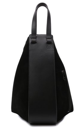Женская сумка hammock LOEWE черного цвета, арт. A538H02X01   Фото 1 (Сумки-технические: Сумки top-handle; Материал: Натуральная кожа, Натуральная замша; Ошибки технического описания: Нет ширины; Размер: large)
