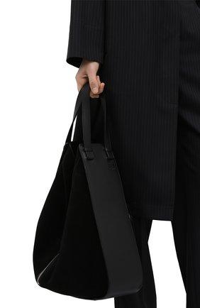 Женская сумка hammock LOEWE черного цвета, арт. A538H02X01   Фото 2 (Сумки-технические: Сумки top-handle; Материал: Натуральная кожа, Натуральная замша; Ошибки технического описания: Нет ширины; Размер: large)