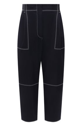 Женские хлопковые брюки ALEXANDER MCQUEEN темно-синего цвета, арт. 656994/QFAAJ | Фото 1 (Стили: Кэжуэл; Силуэт Ж (брюки и джинсы): Прямые; Длина (брюки, джинсы): Укороченные; Материал внешний: Хлопок; Женское Кросс-КТ: Брюки-одежда)