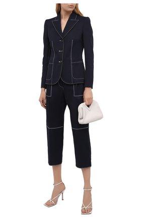 Женские хлопковые брюки ALEXANDER MCQUEEN темно-синего цвета, арт. 656994/QFAAJ | Фото 2 (Стили: Кэжуэл; Силуэт Ж (брюки и джинсы): Прямые; Длина (брюки, джинсы): Укороченные; Материал внешний: Хлопок; Женское Кросс-КТ: Брюки-одежда)