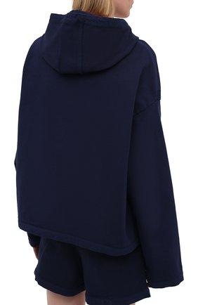 Женский хлопковое худи JIL SANDER темно-синего цвета, арт. JPPS707520-WS248908A | Фото 4 (Рукава: Длинные; Длина (для топов): Стандартные; Женское Кросс-КТ: Худи-спорт, Худи-одежда; Материал внешний: Хлопок; Стили: Спорт-шик)