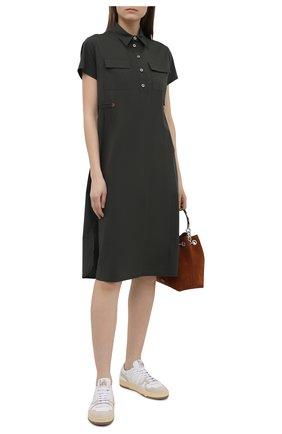 Женское хлопковое платье PIETRO BRUNELLI хаки цвета, арт. AG0419/C0P319 | Фото 2