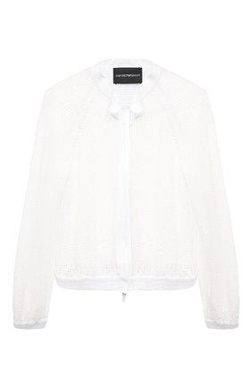 Женская хлопковая куртка EMPORIO ARMANI белого цвета, арт. ANB21R/A2452 | Фото 1 (Материал внешний: Синтетический материал, Хлопок; Длина (верхняя одежда): Короткие; Стили: Спорт-шик; Кросс-КТ: Куртка; Рукава: Длинные)