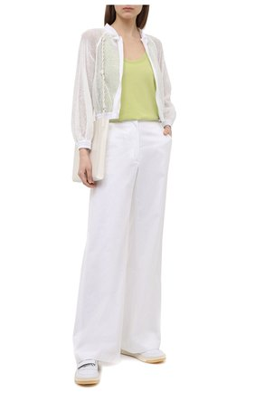 Женская хлопковая куртка EMPORIO ARMANI белого цвета, арт. ANB21R/A2452   Фото 2