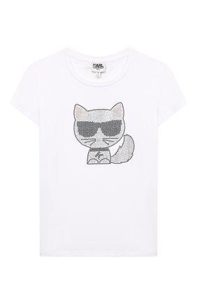 Детская футболка KARL LAGERFELD KIDS белого цвета, арт. Z15300   Фото 1