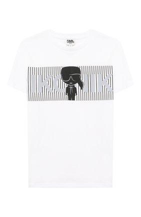 Детская хлопковая футболка KARL LAGERFELD KIDS белого цвета, арт. Z25281   Фото 1