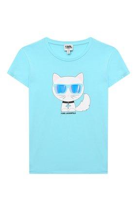Детская хлопковая футболка KARL LAGERFELD KIDS голубого цвета, арт. Z15292   Фото 1