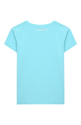 Детская хлопковая футболка KARL LAGERFELD KIDS голубого цвета, арт. Z15292   Фото 2