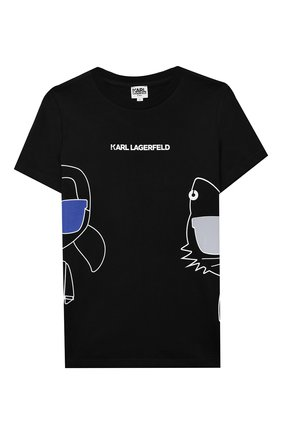 Детская хлопковая футболка KARL LAGERFELD KIDS черного цвета, арт. Z25275   Фото 1