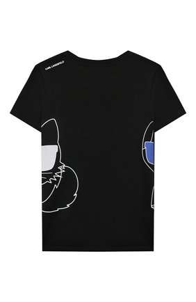 Детская хлопковая футболка KARL LAGERFELD KIDS черного цвета, арт. Z25275   Фото 2