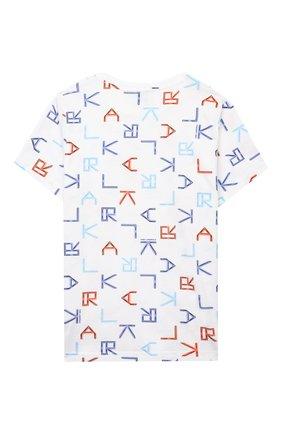 Детская хлопковая футболка KARL LAGERFELD KIDS разноцветного цвета, арт. Z25280   Фото 2
