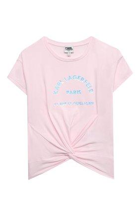 Детская футболка KARL LAGERFELD KIDS розового цвета, арт. Z15303 | Фото 1 (Материал внешний: Хлопок, Синтетический материал; Рукава: Короткие; Девочки Кросс-КТ: футболка-одежда; Ростовка одежда: 9 лет | 134 см, 12 лет | 152 см, 13 - 15 лет | 158 см, 16 лет | 164 см, 5 лет | 110 см, 7 лет | 122 см)