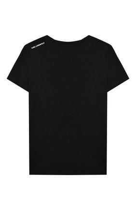Детская хлопковая футболка KARL LAGERFELD KIDS черного цвета, арт. Z25278   Фото 2