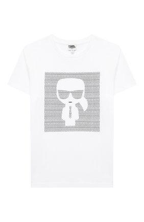 Детская хлопковая футболка KARL LAGERFELD KIDS белого цвета, арт. Z25277   Фото 1