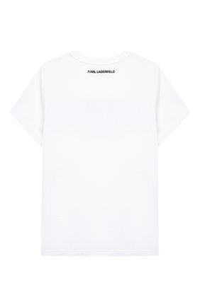 Детская хлопковая футболка KARL LAGERFELD KIDS белого цвета, арт. Z25277   Фото 2
