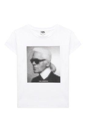 Детская хлопковая футболка KARL LAGERFELD KIDS белого цвета, арт. Z15295   Фото 1