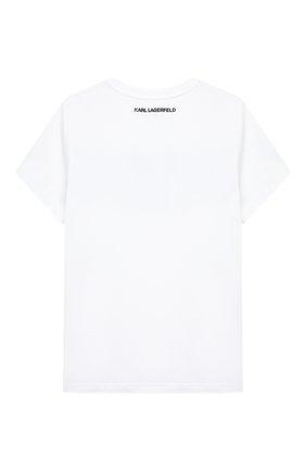 Детская хлопковая футболка KARL LAGERFELD KIDS белого цвета, арт. Z15295   Фото 2