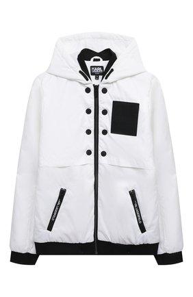 Детского куртка с капюшоном KARL LAGERFELD KIDS белого цвета, арт. Z26075   Фото 1