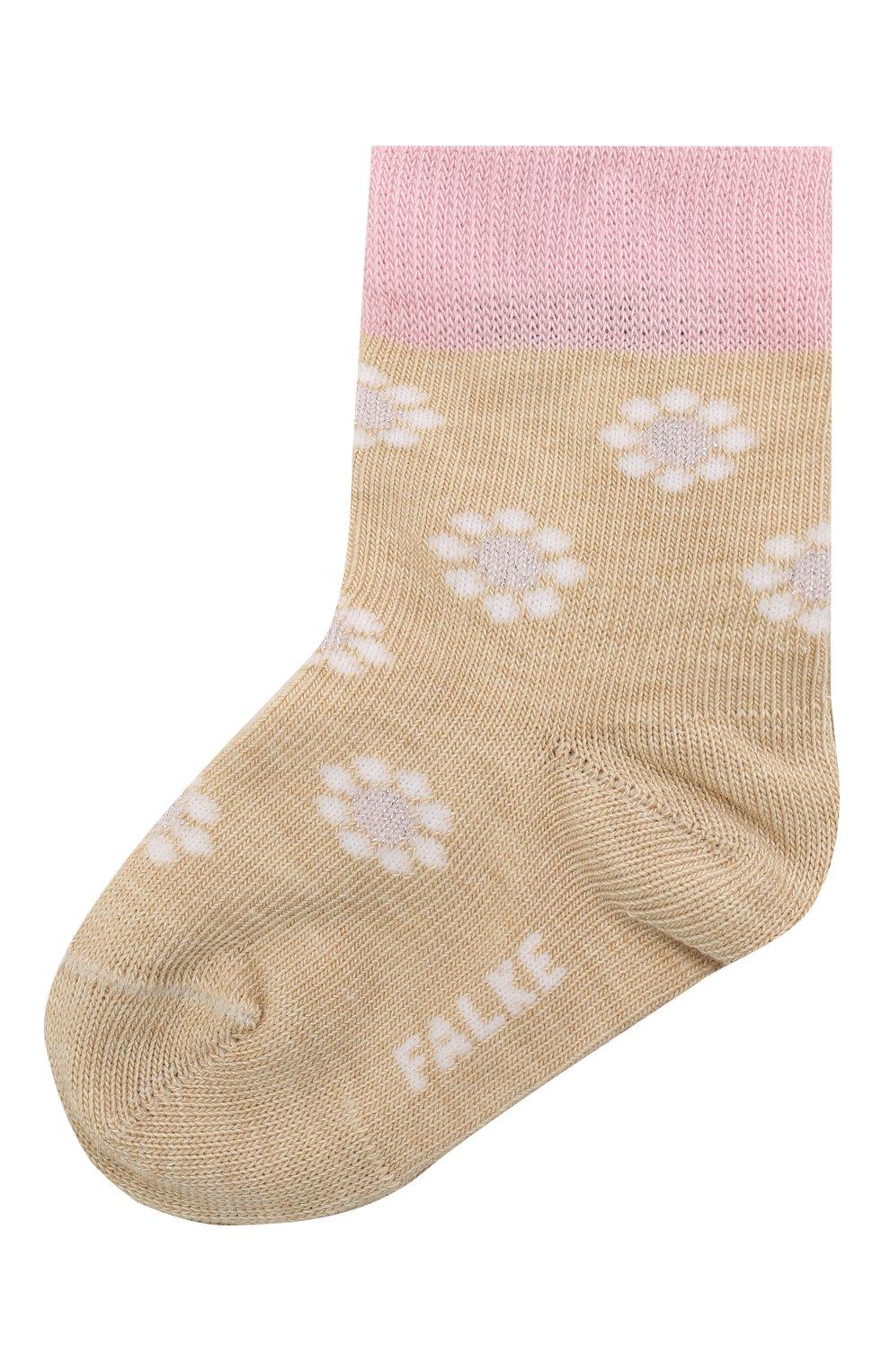 Детские хлопковые носки FALKE бежевого цвета, арт. 12988. | Фото 1 (Материал: Текстиль, Хлопок)