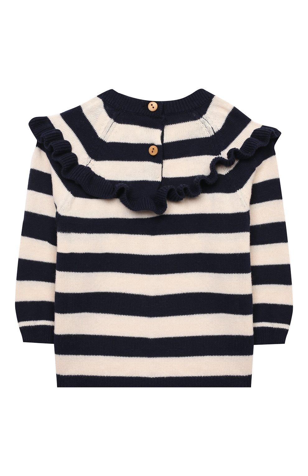 Детский хлопковый пуловер LES LUTINS PARIS темно-синего цвета, арт. 21E019/S0NIA | Фото 2
