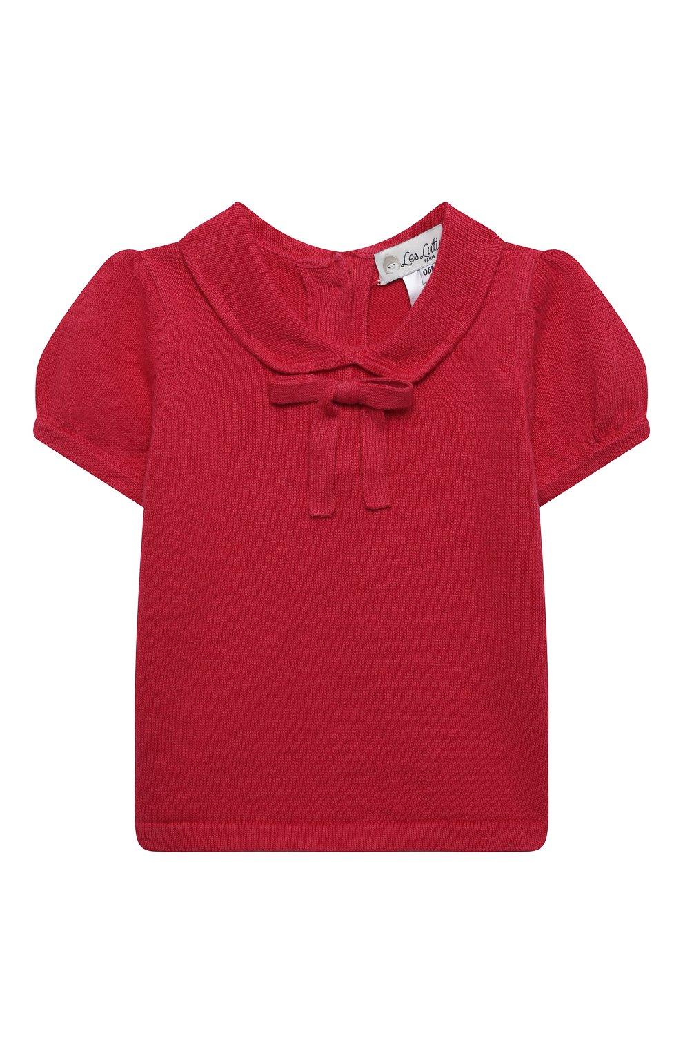 Детский хлопковый пуловер LES LUTINS PARIS фуксия цвета, арт. 21E049/AIDA   Фото 1